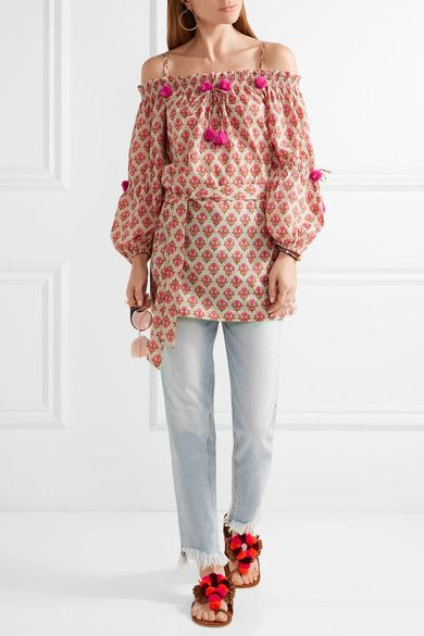 Figue - Iman Embellished Off-the-shoulder Cotton Tunic - Pink - x small