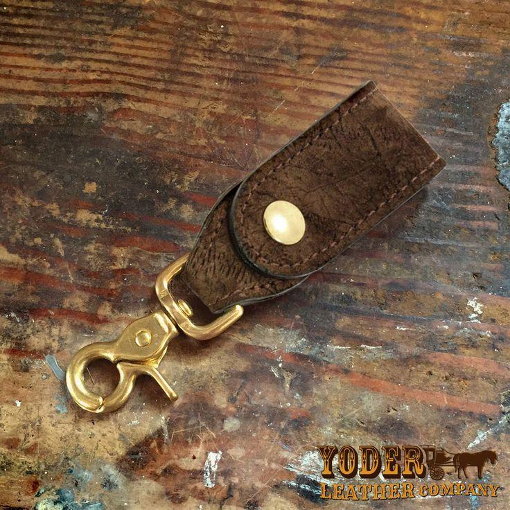 Brown Hippo Leather Key Hanger - Handmade to Order Genuine Hippopotamus Hide #YoderLeatherCompany