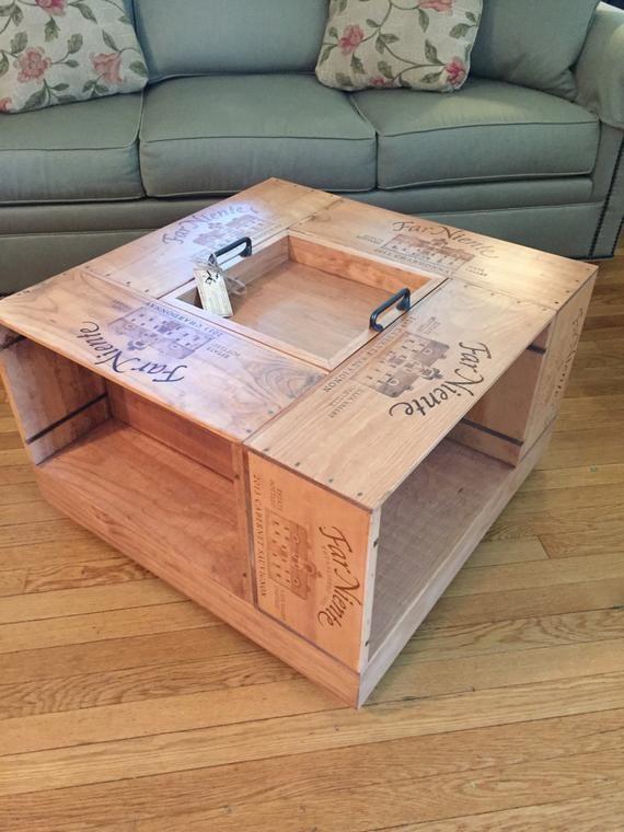 Table basse de caisse de vin   Etsy