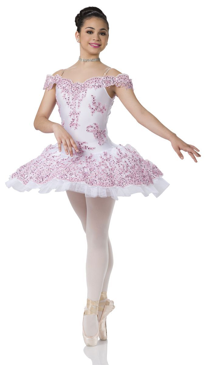bd093cbfba LEOTARD WITH ATTACHED TUTU: White spandex, white organza, and white net  TRIM: Pink embroidered lace and nude adjustable straps SIZES: Child:  M-L-XL, ...