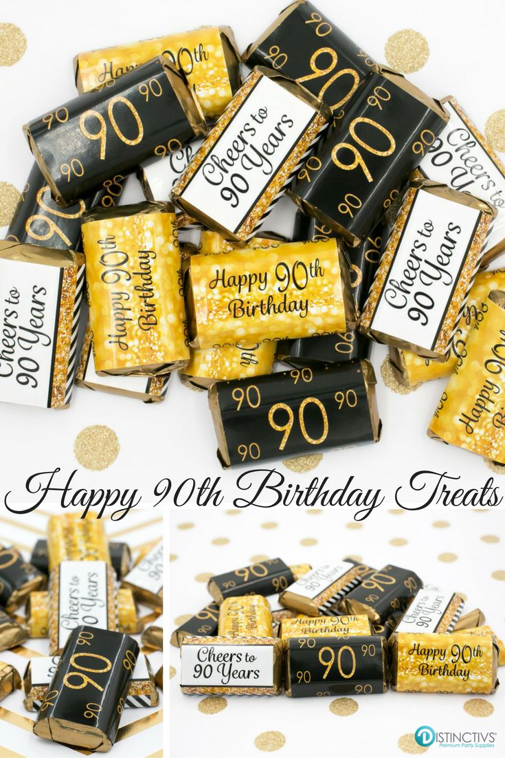 Gold and black 90th birthday party favor stickers for small chocolates that will be a sure hit at your party.