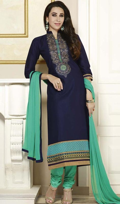 Karisma Kapoor Navy Blue Color Cotton Churidar Dress