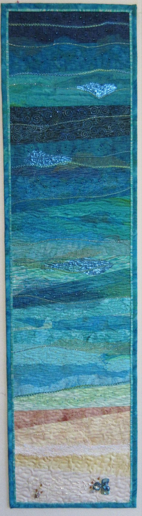 Handmade Abstract Textile Art Quilt. Beautiful by HannesQuiltshop