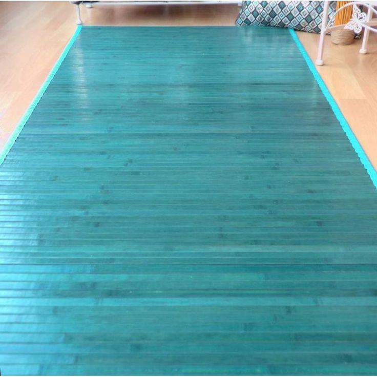 alfombra de bamb para pasillo color turquesa
