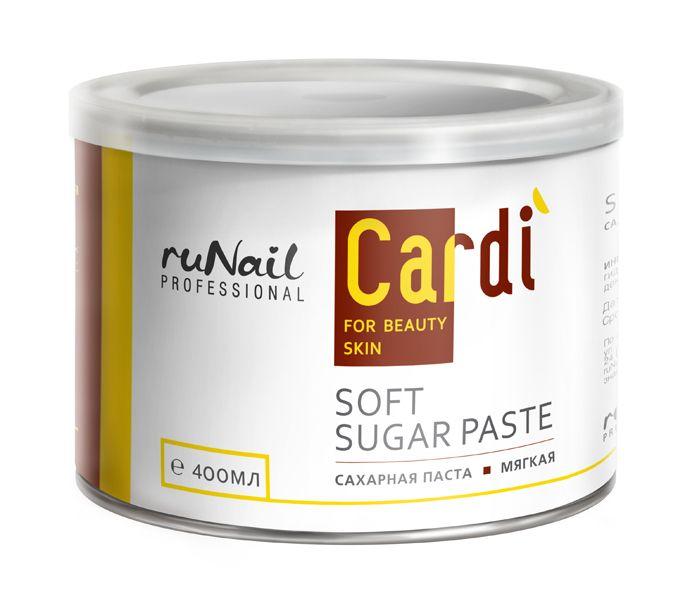 Сахарная паста (мягкая) Cardi, 400 мл. RuNail. Натуральная формула сахарной пасты, в которую входят кукурузный крахмал, вода и сахар, исключает появление аллергических реакций на коже. Паста мягкой консистенции. Подходит для работы в прохладных помещениях. Заказать пасту по ссылке…