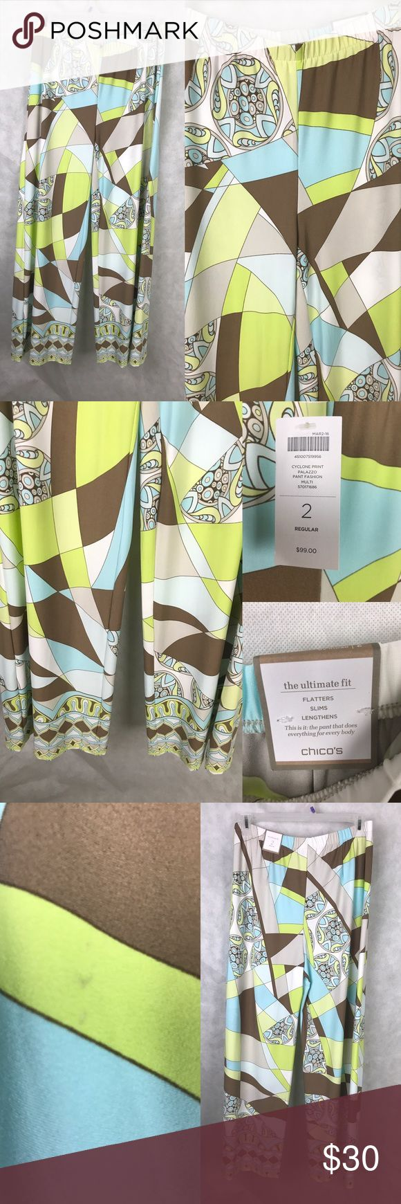 "NWT Chico's 2 Palazzo Pants Wide Leg Sz 12 Large Chico's multi color palazzo pants in cyclone print. Chicos size 2 Regular which is equivalent to 12 or large. Waist: 33"" Hip: 42"" Inseam: 31.5"" Rise: 10"". No holes, rips, pulls. Small mark on rear area (please see picture). From non smoking home. Chico's Pants"