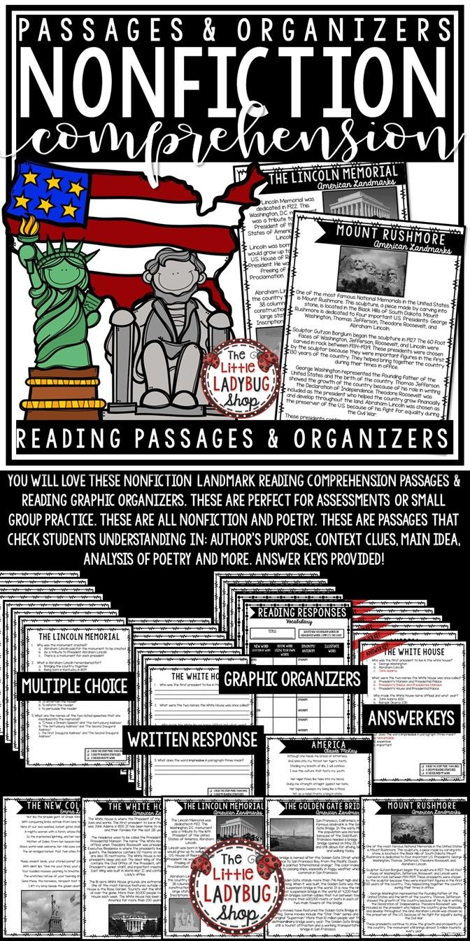You'll love these United States Landmark Nonfiction Reading Comprehension Passages. These are prefect for Third Grade, Fourth and Fifth Grade. Included are Reading Practice Passages perfect for: Warm-up, Bell Work, Homework, or Weekly assessments. Students can use independently in literacy groups, Guided reading groups! Different close reading options provided- multiple choice, written response or Graphic Organizers to focus on individual skill.