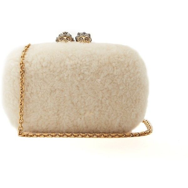 Alexander McQueen Queen and King skull-embellished shearling clutch (116.185 RUB) ❤ liked on Polyvore featuring bags, handbags, clutches, alexander mcqueen handbags, alexander mcqueen clutches, alexander mcqueen purse and alexander mcqueen