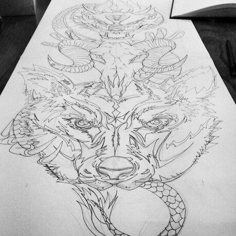 Mijn traditionele draak en totem fusion! Om te laten laser etchen op mijn longboard.