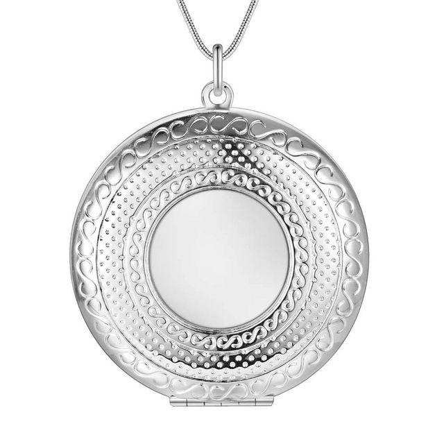 Оптовая посеребренные шарм jewelrys Ожерелье, бесплатная доставка 925 штампованные ювелирные изделия кулон Круглый зеркало AN733