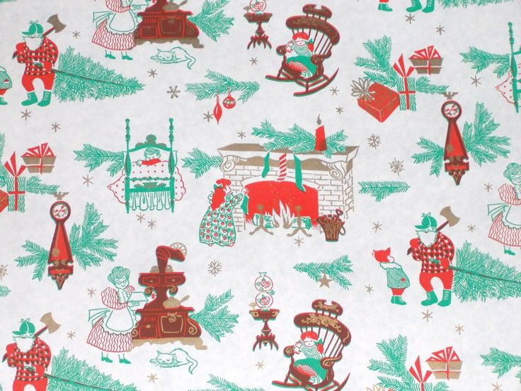VTG CHRISTMAS WRAPPING PAPER GIFT WRAP 2 YARDS 1950 TREE FIREPLACE STOCKINGS CAT | eBay