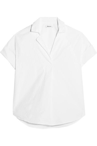 SIMPLE SHIRTING: Madewell's 'Courier' shirt buttons at the back - it looks so cool left partially unfastened over high-waisted jeans or pants. Made from cotton, this piece has a boxy, loose cut and rolled sleeves.