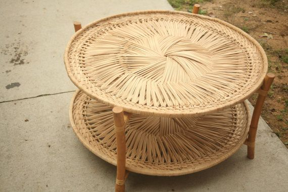 Wicker Table, Bamboo Table, 1950s Table, Coffee Table, Sunroom, Outdoor Furniture, Three Seasons Room