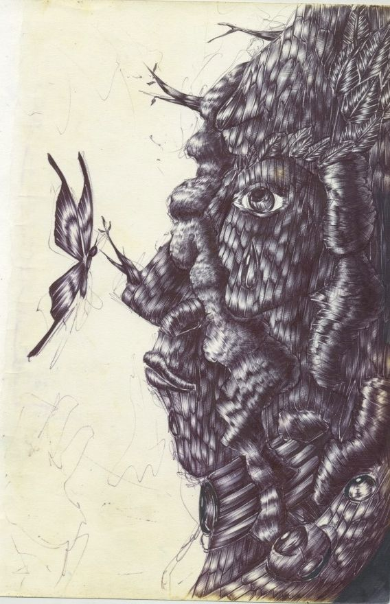 tree,human,나비,나무,풀,인간,illust,일러스트