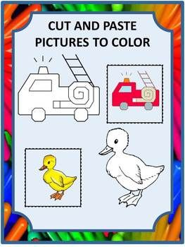 Cut and Paste Pictures to Color PK,K,Special Education, Autism-Most children like to color. This packet combines picture coloring with the fun of cut and paste. It consists of 19 coloring pages with two pictures per page. Each picture has a cut and paste square that the student cuts out and pastes next to the matching picture.