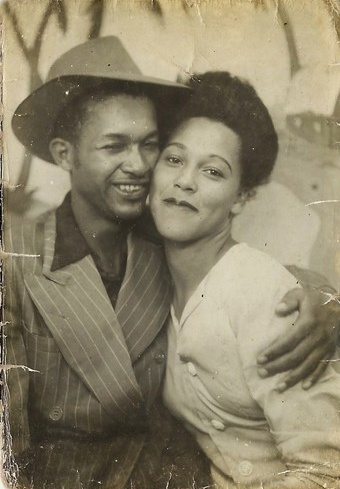 **  Photo Booth  **                     Beautifully happy young African American couple c.1940s.