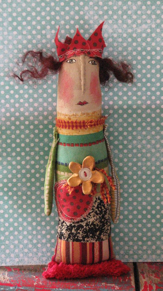 Vintage Mixed Media Folk Art Doll by OffTheBeam on Etsy, $28.00