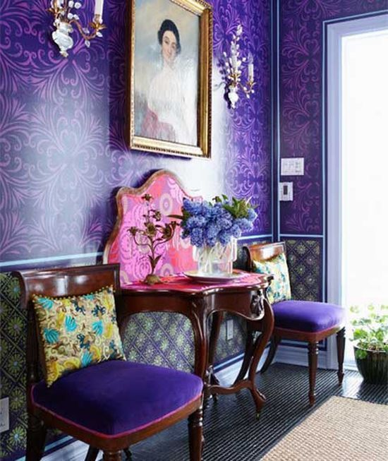 How To Use Ultra Violet - Pantone Colour of The Year 2018 What makes this predominately Ultra Violet space work is the use of pattern which breaks the colour up. It provides visual interest and the uplifting pops of bright pink, yellow and turquoise lighten the mood of the space. #pantone #purple #ultraviolet #hometrends #homedecor #pattern #colour #colourinspo #colouroftheyear #trends #interiors