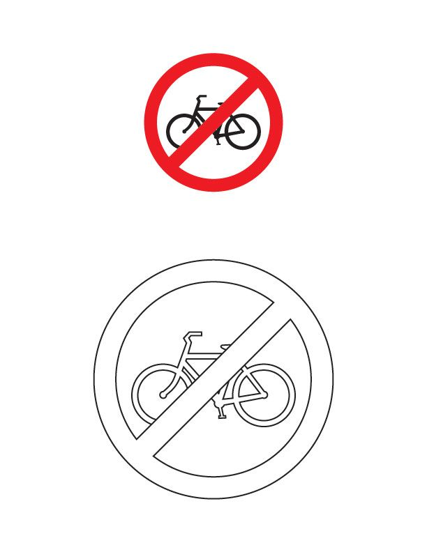 Cycles prohibited traffic sign coloring page