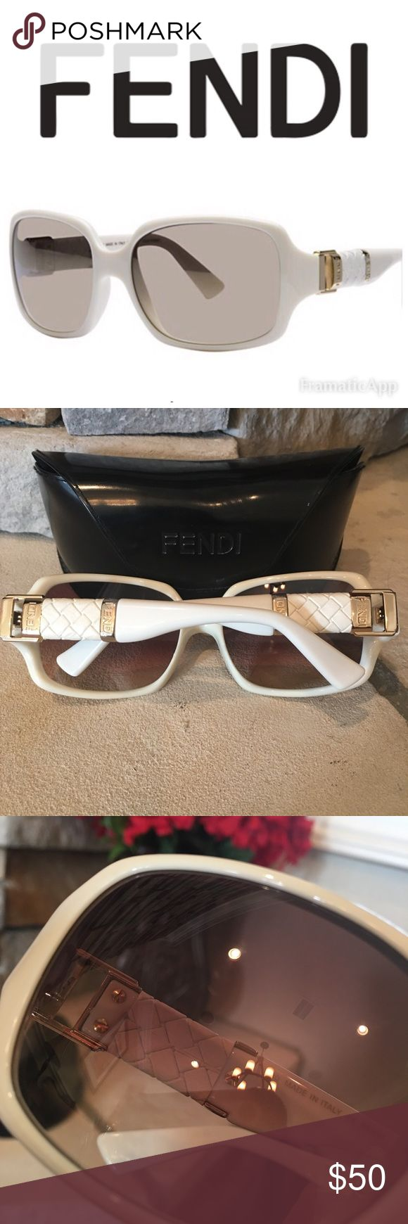 FENDI Sunglasses Beautiful white and gold. In great shape. Tiny nick on one lense, so small i can barely get it in pic. Case included and in great shape. Yes, Authentic 😎 Fendi Accessories Sunglasses