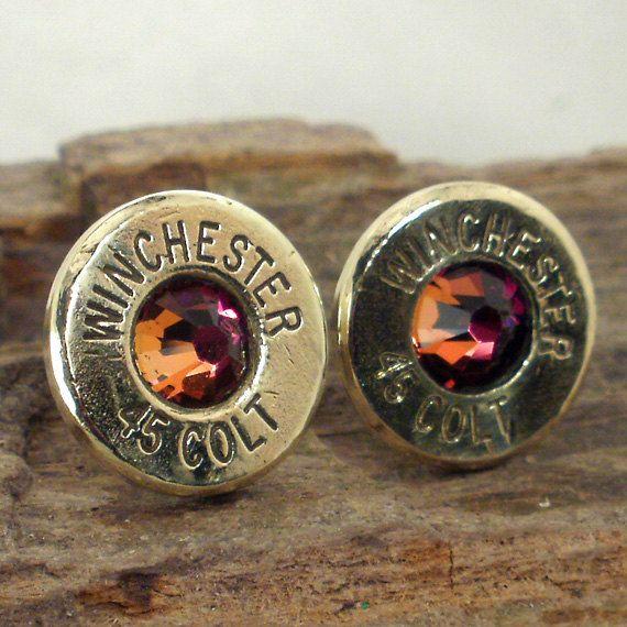 Bullet Earrings Stud Earrings Ultra Thin Colt by ShellsNStuff, $14.99 yes!