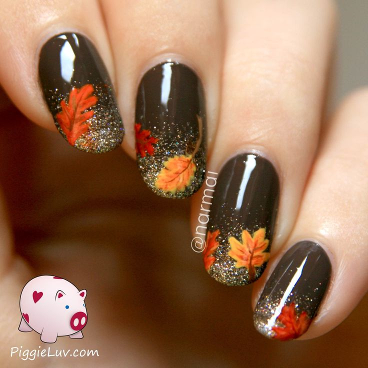 Fall nail art! Autumn leaves on glitter gradient