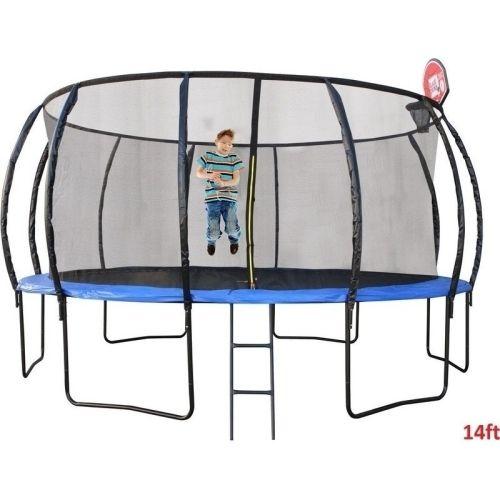 14ft Round Trampoline with Ladder, Shoe Bag & Hoop | Buy 14ft Trampoline