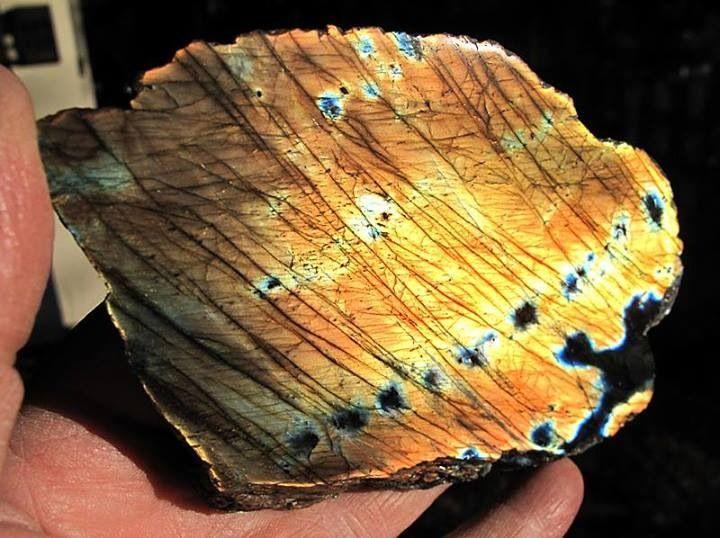 5.5 inch thick slab labradorite. 100% flash both polished sides. For sale alanpjb@aol.com