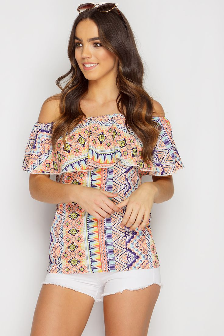 Jodie Multicolour Aztec Bardot Frill Top at misspap.co.uk