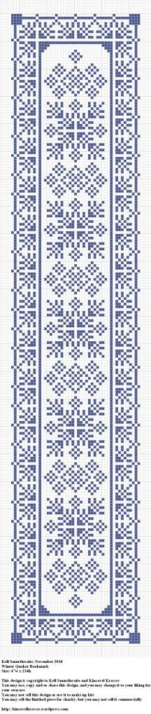 Winter Quaker Bookmark - grille - cross stich