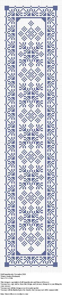 Winter Quaker Bookmark - grille - cross stich