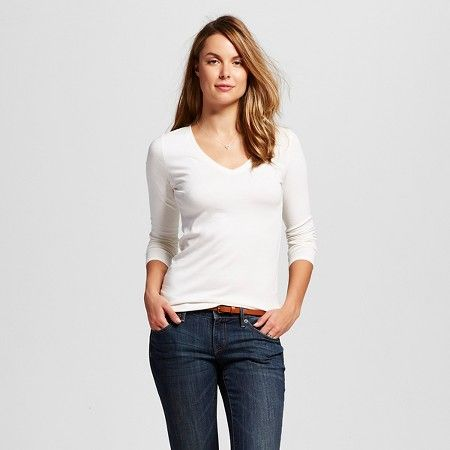 TARGET Women's Long Sleeve Vee Tee - Merona (Color: Sour Cream - Size: Medium)