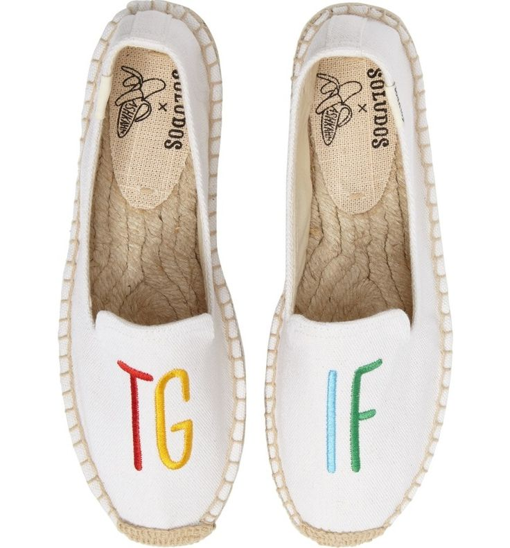 Celebrate the onset of the weekend with these embroidered espadrille flats.