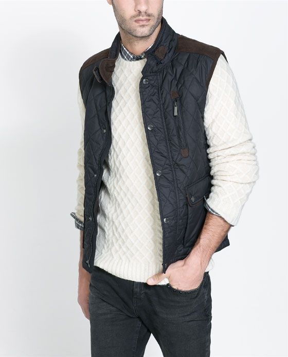 QUILTED WAISTCOAT WITH FAUX LEATHER APPLIQUÉ - Jackets - Man | ZARA United States