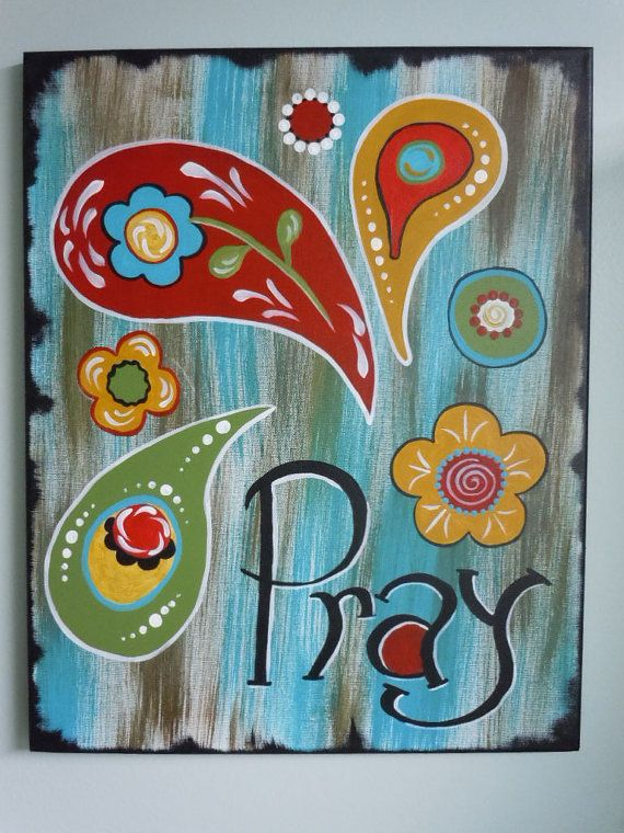 PRAY painted canvas SCRIPTURE rusticpaisley  by STROKESofFAITH, $35.00
