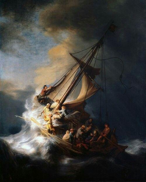 Rembrandt van Rijn        Schilderij; Christus in de storm op het meer van Galilea