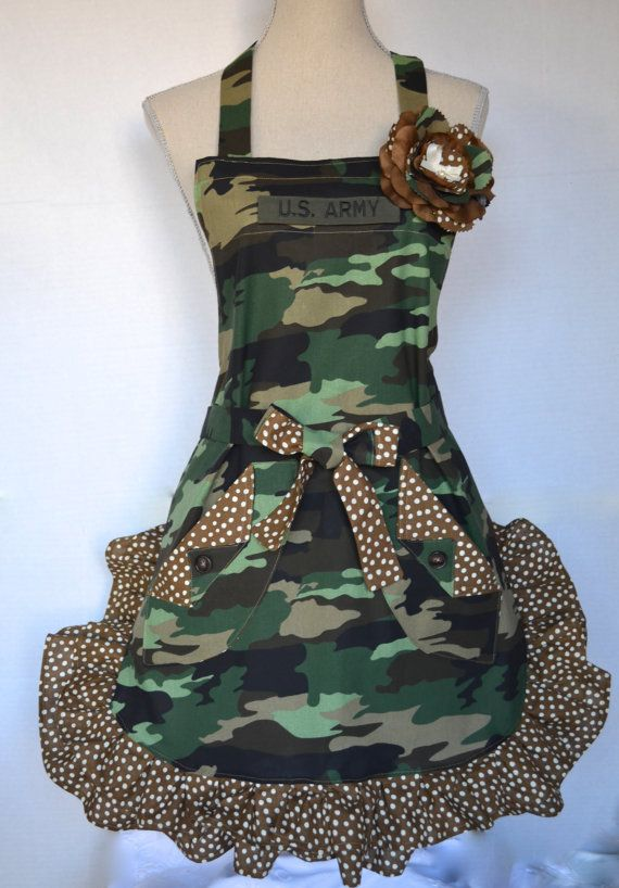 Your in the Army Now Womens Full Apron Military by OliviabyDesign, $32.95  #army apron #womens aprons #ruffled apron