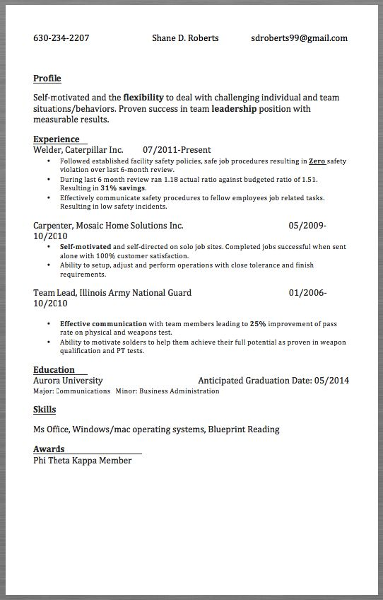 Sample Resume Welder 630 234 2207 Shane D Roberts Sdroberts99