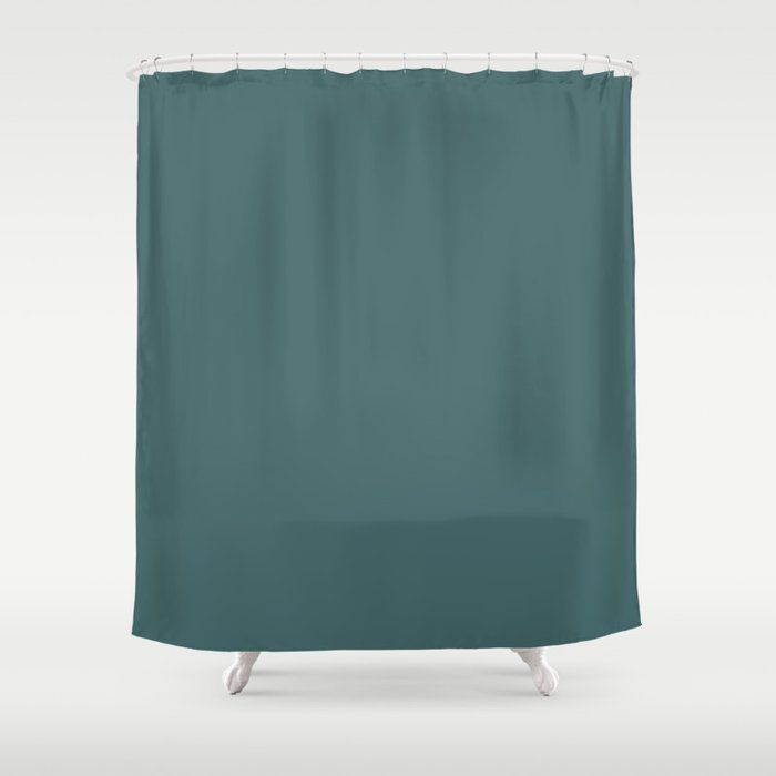 Dark Teal Turquoise Solid Color Shower Curtain By Kierkegaart
