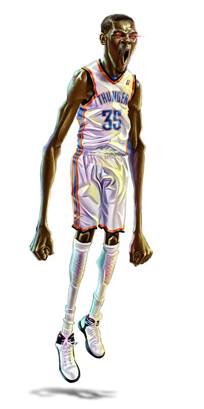 Kevin Durant Caricature Art  TOO COOL - he is the best in the WEST, North, South, and East.  We love him!