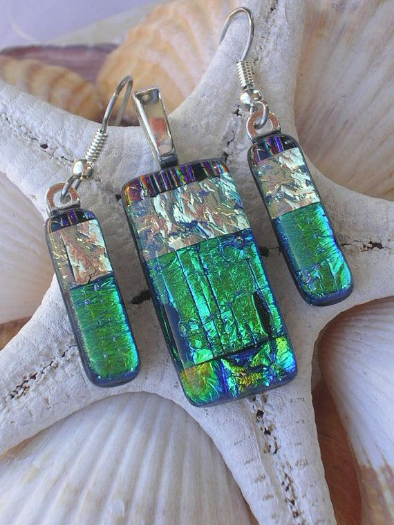 Favorite  Like this item?    Add it to your favorites to revisit it later.  Brazilian Rainforest Dichroic Fused Glass Jewelry Pendant and Dangle Earring Set  RyanstonesFusedGlass  Dichroic Creations By Ryanstones