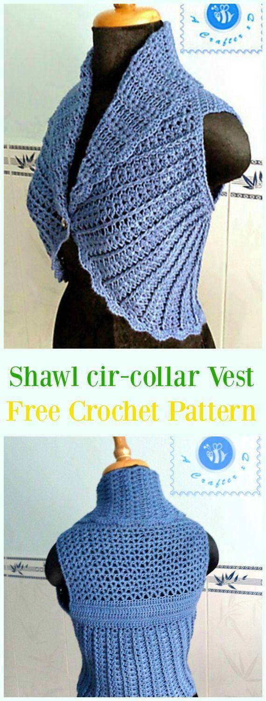 Crochet Shawl cir-collar Vest Free Pattern - #Crochet; Women #Vest; Free Patterns