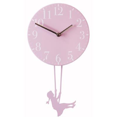 Wall Clock Swinging Girl - Pink