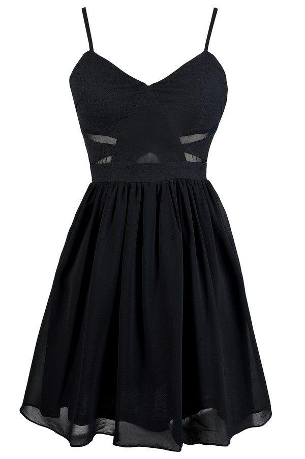 Mesh Together A-Line Dress in black