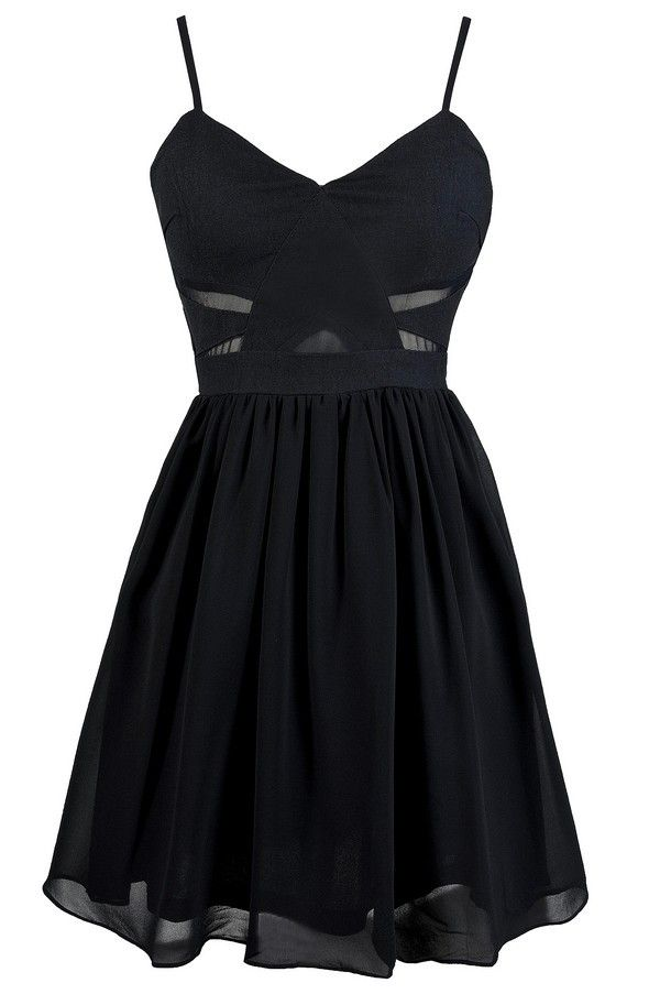 Mesh Together A-Line Dress in Dark Navy www.lilyboutique.com
