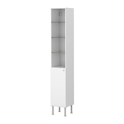 """ENTRYWAY/BATH STORAGE: IKEA Width: 11 3/4 """"  Depth: 11 3/4 """"  Height: 71 5/8 """"  FULLEN  High cabinet, white  $39.99  Article Number:301.890.24  Adjustable shelf included"""