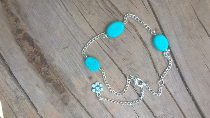 Turquoise stone ankle chain, Beach Boho ankle chain, Turquoise and silver anklet by AhyokaByBernice on Etsy