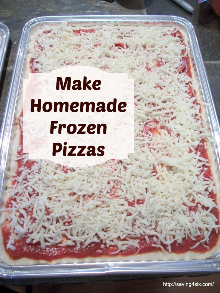 homemade frozen pizza She also has links to a month of frozen meals!  And a great idea, do this in November and have Dec. covered!PLAN