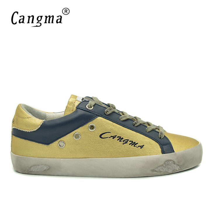 CANGMA New Brand Fashion Gold Shoes Men Retro Breathable Genuine Leather Synthetic Men's Casual Shoes Male Comfort Footwear 2017 #Affiliate