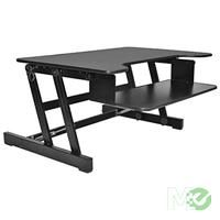 MX62363:  Sit To Stand Adjustable Desk Riser w/ Keyboard Tray, Black